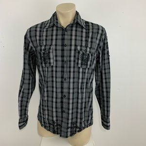 Roar embroidered plaid button shirt